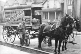 An H.A. Edgett Company Limited grocery delivery wagon on Hamilton Street