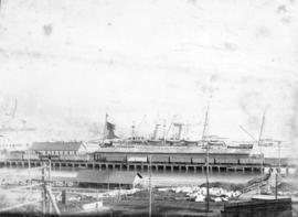 [A ship at the C.P.R. wharf at the foot of Granville Street]