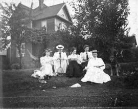 [Group portrait in yard of Captain R.G. Tatlow's residence - 1140 Pender Street]