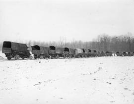[Trucks on the Western Front wait at railhead for supplies]