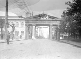Lumberman's Arch at Pender Street near Hamilton Street, erected for visit of Duke of Connaught