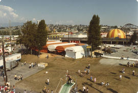 View of bingo tent and midway from gondola