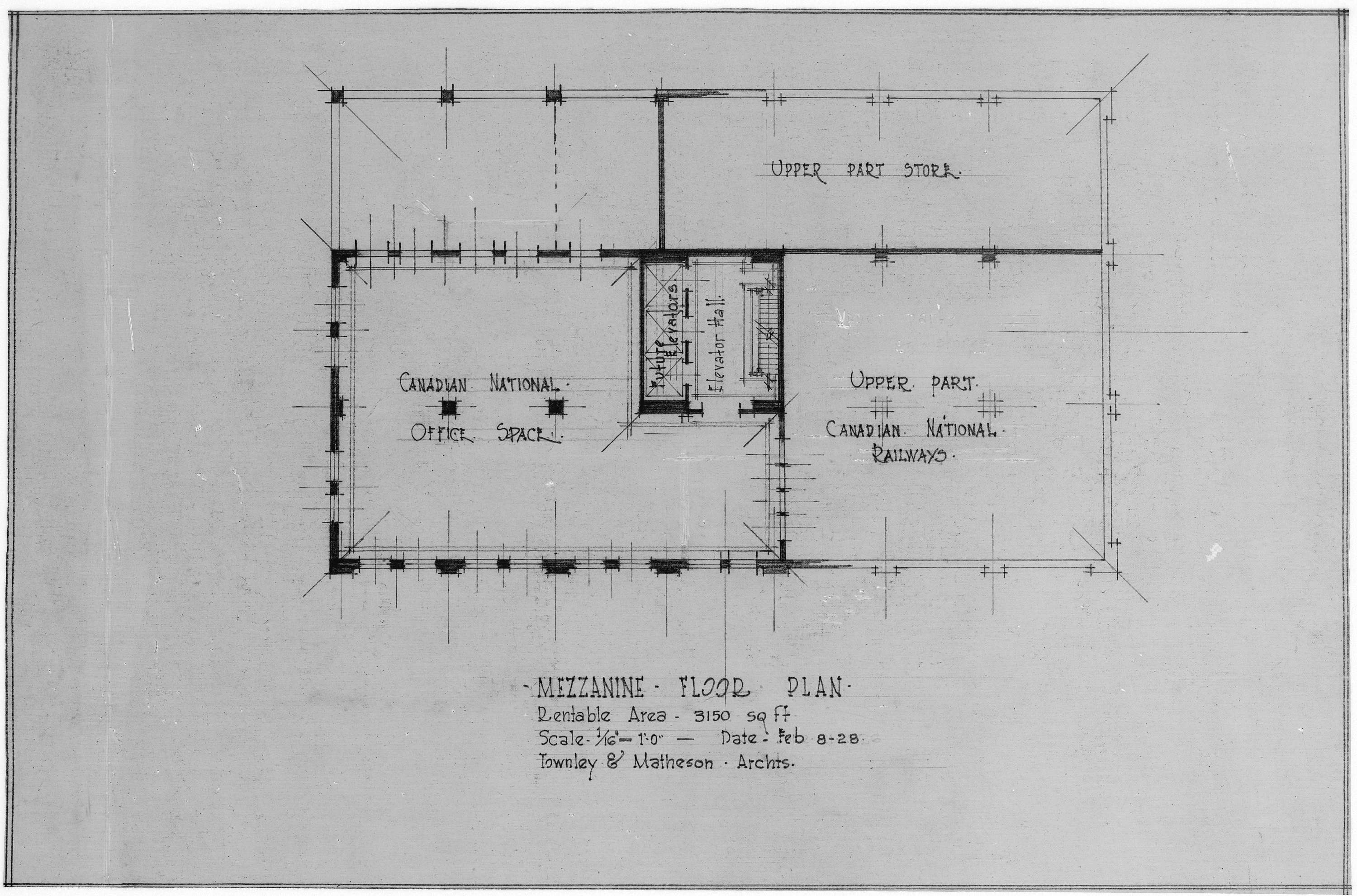 photograph of drawing for building at georgia st granville st mezzanine floor plan open original digital object