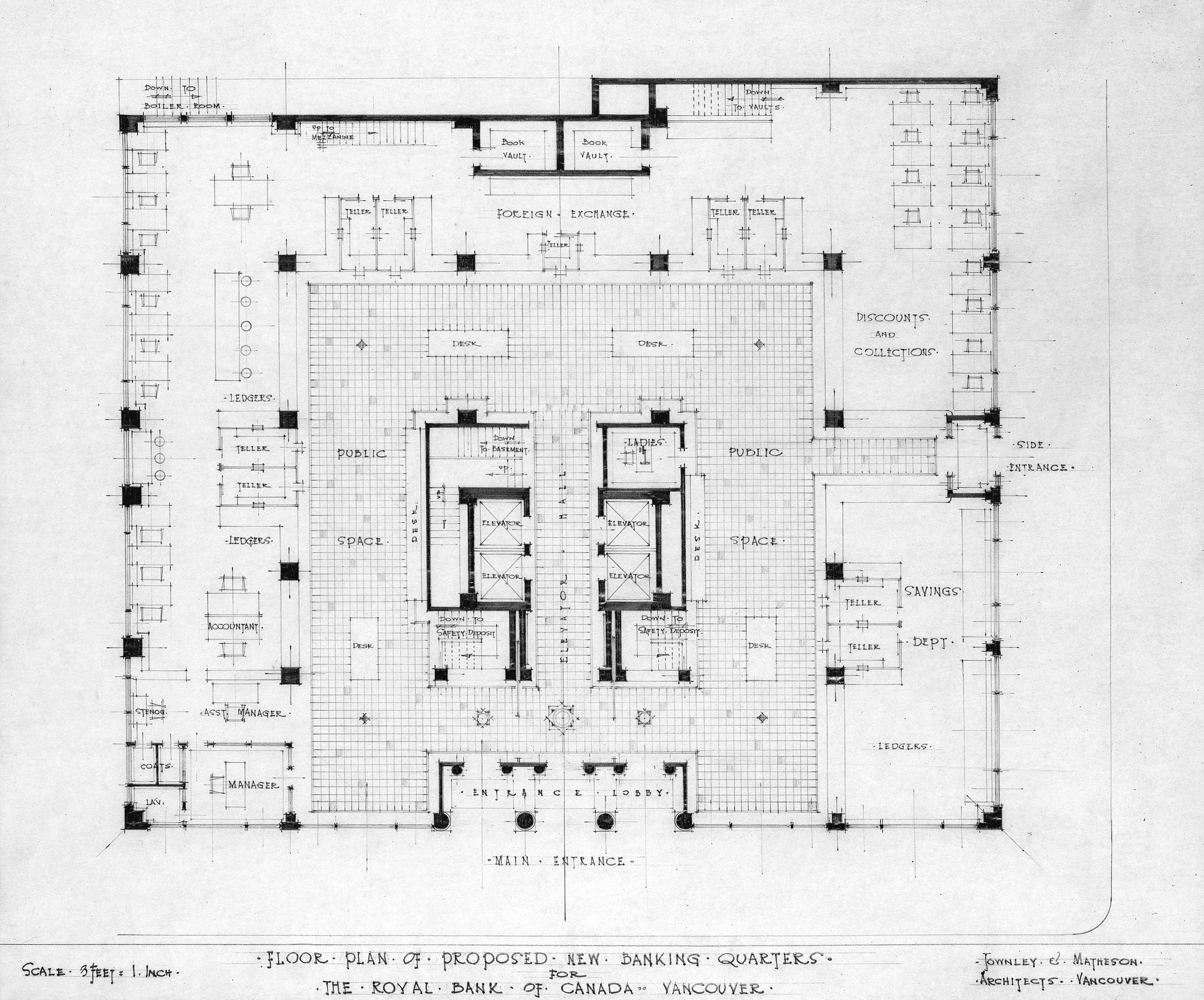 Floor plan of proposed new banking quarters for the Royal Bank of ...