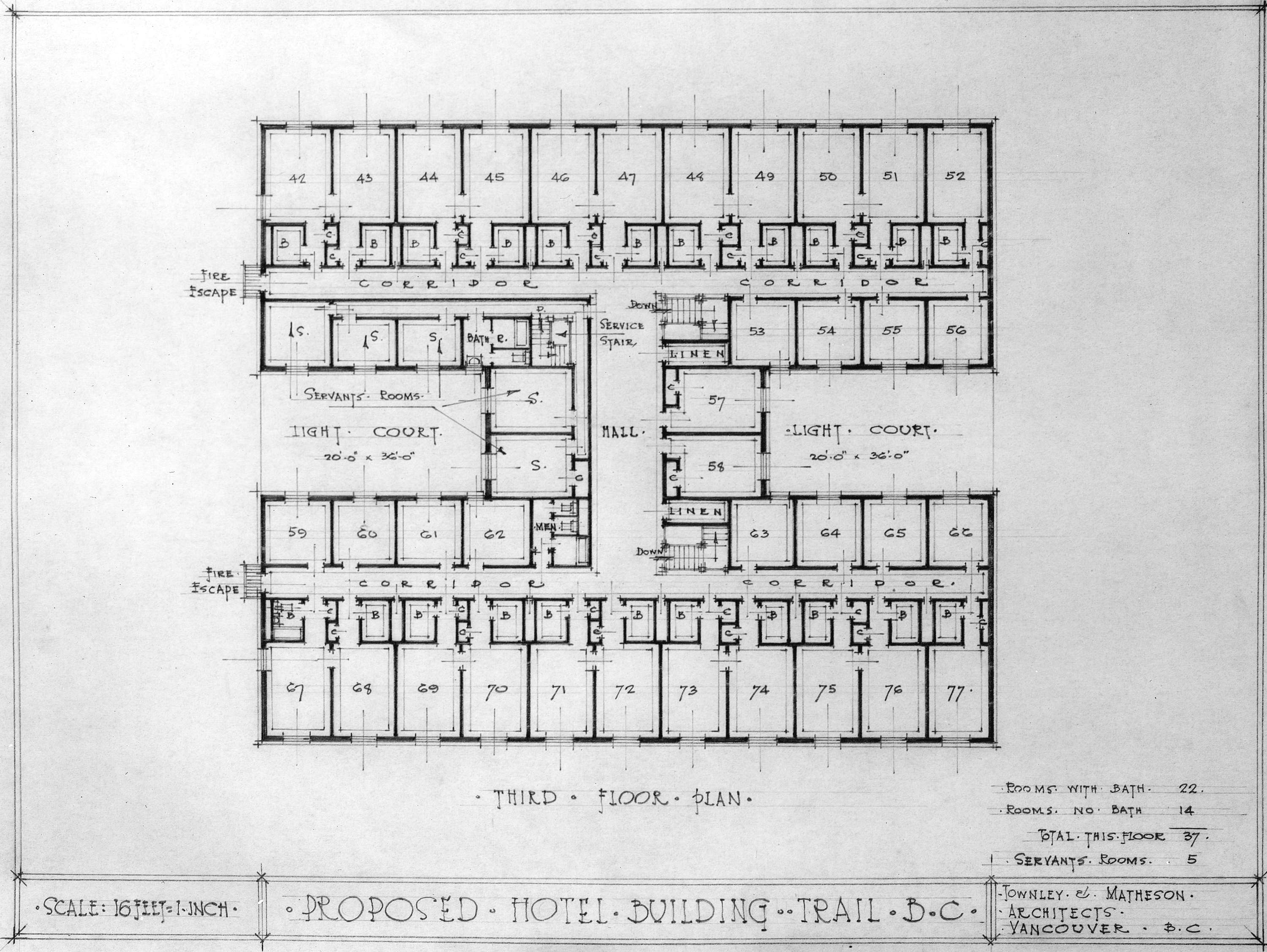 Proposed hotel building trail b c third floor plan for Area of a floor plan