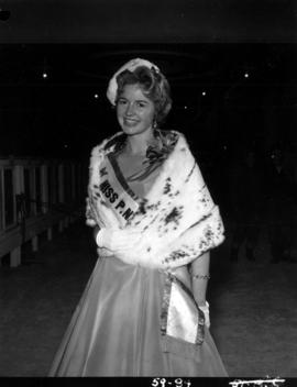 Anna Finlayson poses with fur stole after being named Miss P.N.E. 1959