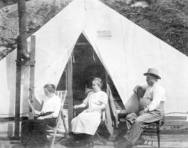 [Mr. and Mrs. Fred Rogers and their daughter Mina camping at Point Atkinson]