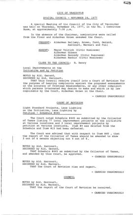 Special Council Meeting Minutes : Nov. 24, 1977