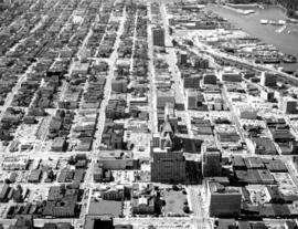 [Aerial view of Downtown looking west from Granville Street]