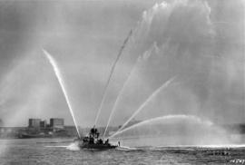 "[Demonstration of Vancouver's first fire boat ""J.H. Carlisle""]"