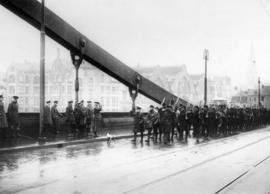 General Plumer takes the salute on the bridge at Cologne where the 1st Canadian Division crossed ...