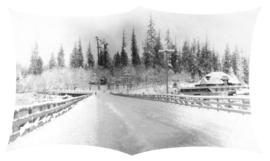 [Road into Stanley Park, covered in snow]