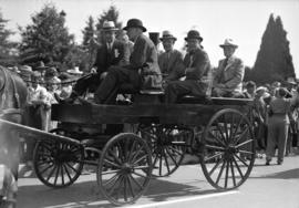 [Brenton Brown, W.R. Lord, Alderman Chas. Jones and others in a horse cart at the rededication of...