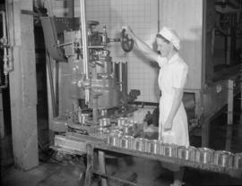 [Woman operating machine to seal cans of Hedlund's Ltd. meat products]