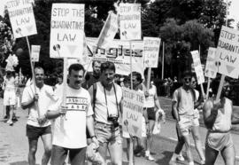 Bob Tivey (second from left) at demonstration against Bill 34 (quarantine law) [at] Vancouver Cou...