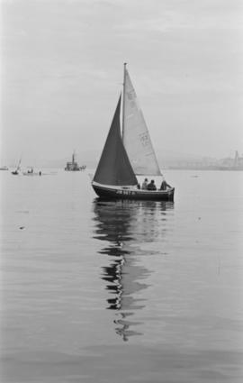 Becalmed [sailboat named Jub Set IV on the water]