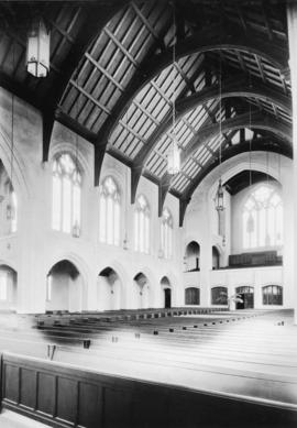 Looking north-east, arcade aisle and echo organ loft [St. Andrew's Wesley United Church]