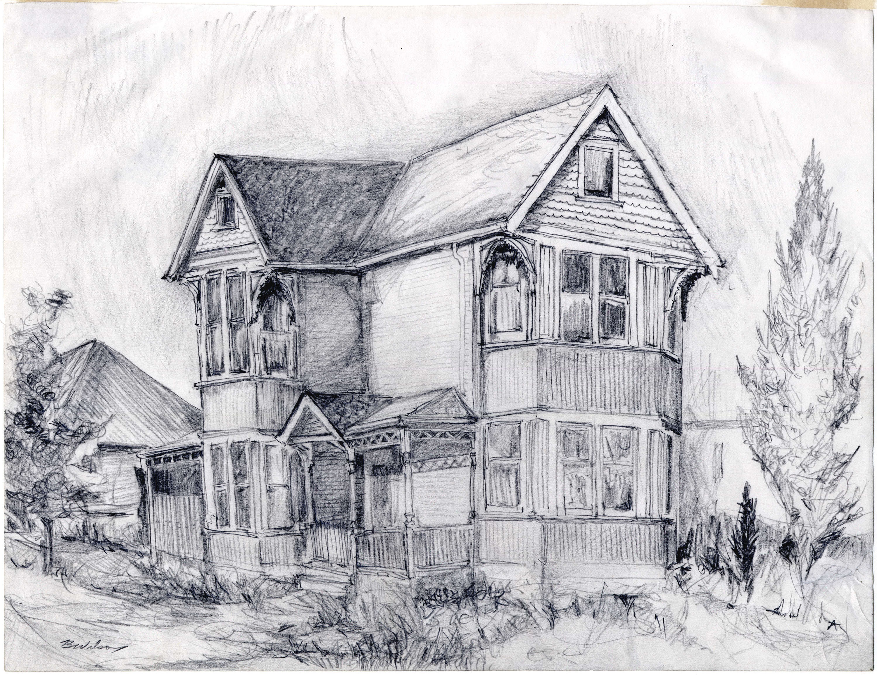 ... [Sketch Of A Victorian House]. Open Original Digital Object