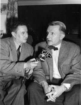 "[C.P.R. President N.R.C. Crump being interviewed by CBC during the launch of ""The Canadian&q..."