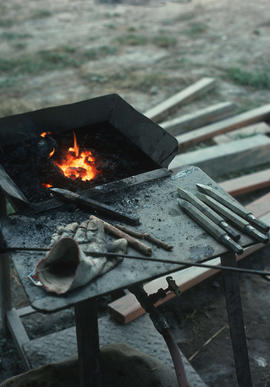 Stone tools - Smithing tools being sharpened