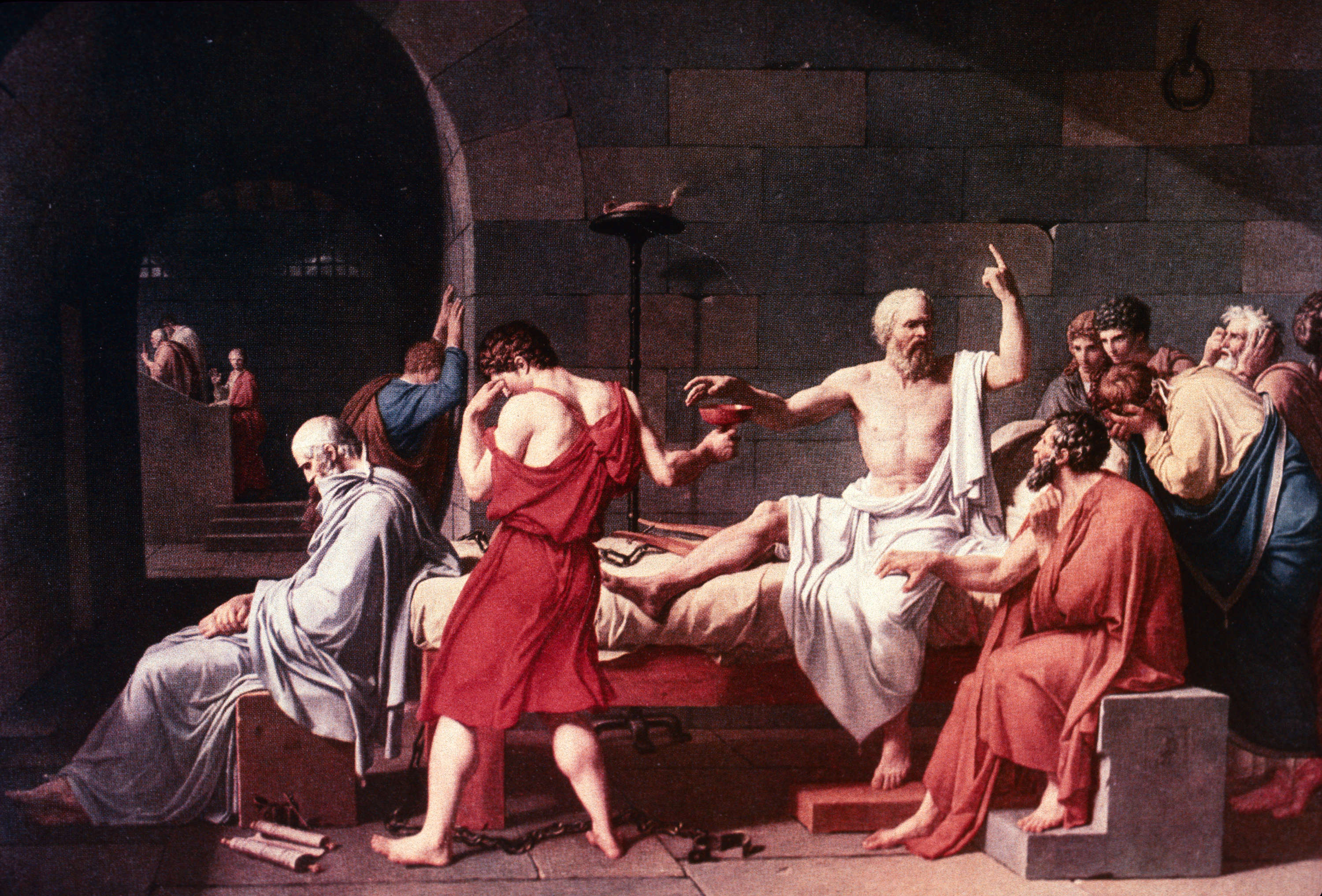 the death of socrates When the political climate of greece turned, socrates was sentenced to death by hemlock poisoning in 399 bc he accepted this judgment rather than fleeing into exile.