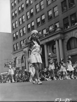 Young majorette in 1953 P.N.E. Opening Day Parade