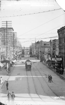 [Hastings Street looking east from Granville Street, decorated for visit of Duke and Duchess of C...