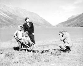 Indian children [and Bea Tait] at Carcross, Y.T.
