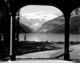 [View of] Lake Louise from Chalet, near Laggan, Alta.