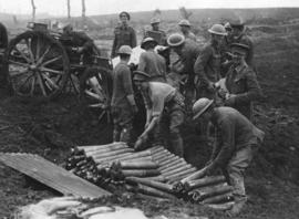 [Soldiers unload ammunition on the Western Front]