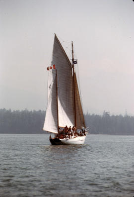 Large sailboat in Burrard Inlet with Stanley Park in background