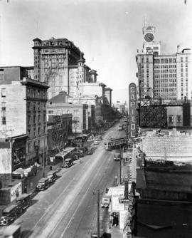 [Looking north on Granville Street from Robson Street]