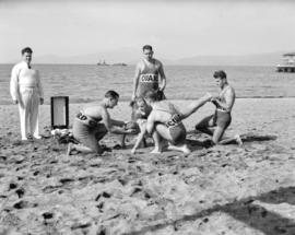 City Life Savers [putting on demonstration at English Bay Beach]