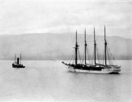"[Schooner ""Vancouver"" being towed by the tugboat ""Sea Monarch"" through the Fi..."