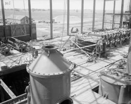 View of second floor from behind sulphur tower showing assembly of standard liquor heaters