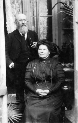 Portrait of South Vancouver Reeve, William John Brewer and his wife on Easter, 1909