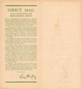 Direct mail as an advertising and marketing medium