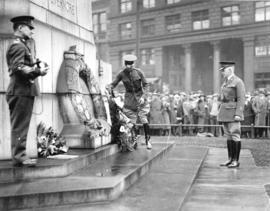 [American officers place wreath at cenotaph during ceremony at Victory Square, 100 to 200 block W...