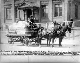[B.C. Bedding Company's lorry in front of Central School, Pender Street]