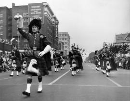Pipe band in 1949 P.N.E. Opening Day Parade