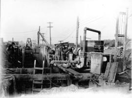 George St. electric hoist [being used for road and sewer construction]