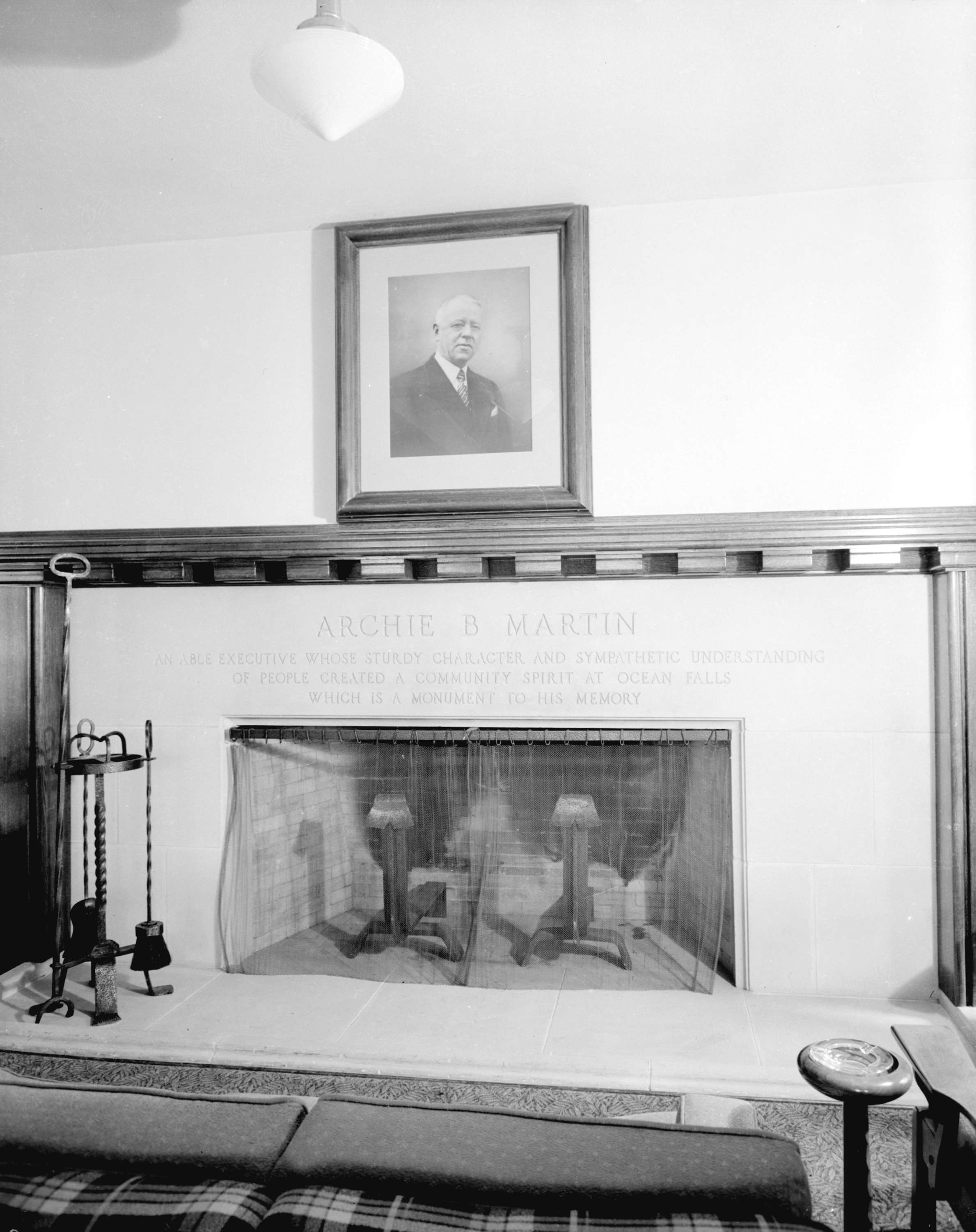 martin hotel interior showing fireplace ocean falls city of