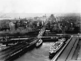 [Aerial view of C.P.R. Pier D at foot of Granville Street and part of Pier B-C]