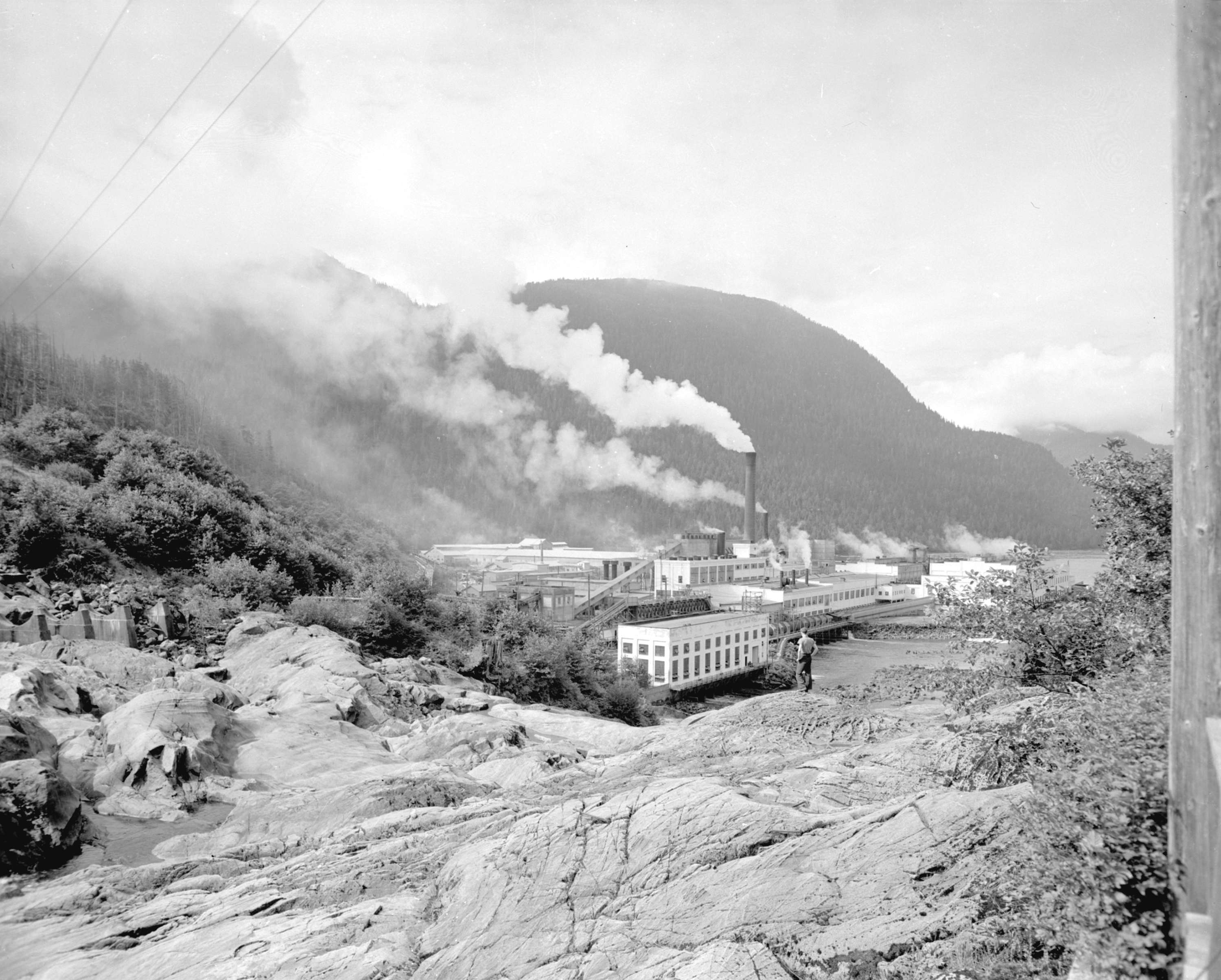 View of [Pacific] Mills, Ocean Falls - City of Vancouver Archives