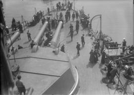 "On the deck of H.M.S. ""New Zealand"". View from above."