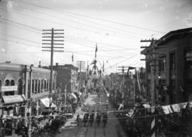 [Duke and Duchess of Cornwall and York in procession on Cordova Street at Cambie Street]