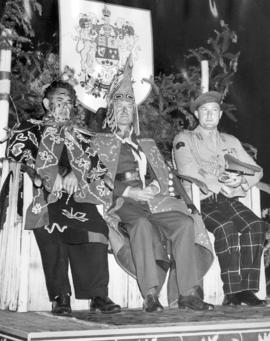"[Chief William Scow, Vicount Alexander of Tunis as honourary Chief ""Nakapunkim"" and Bri..."