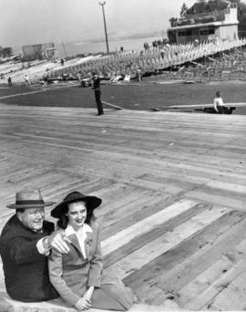 [John Charles Thomas and Mrs. Gordon Hilker on the stage during construction at Brockton Point fo...