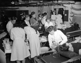 [Blood donor clinic on board the H.M.C.S. Warrior]