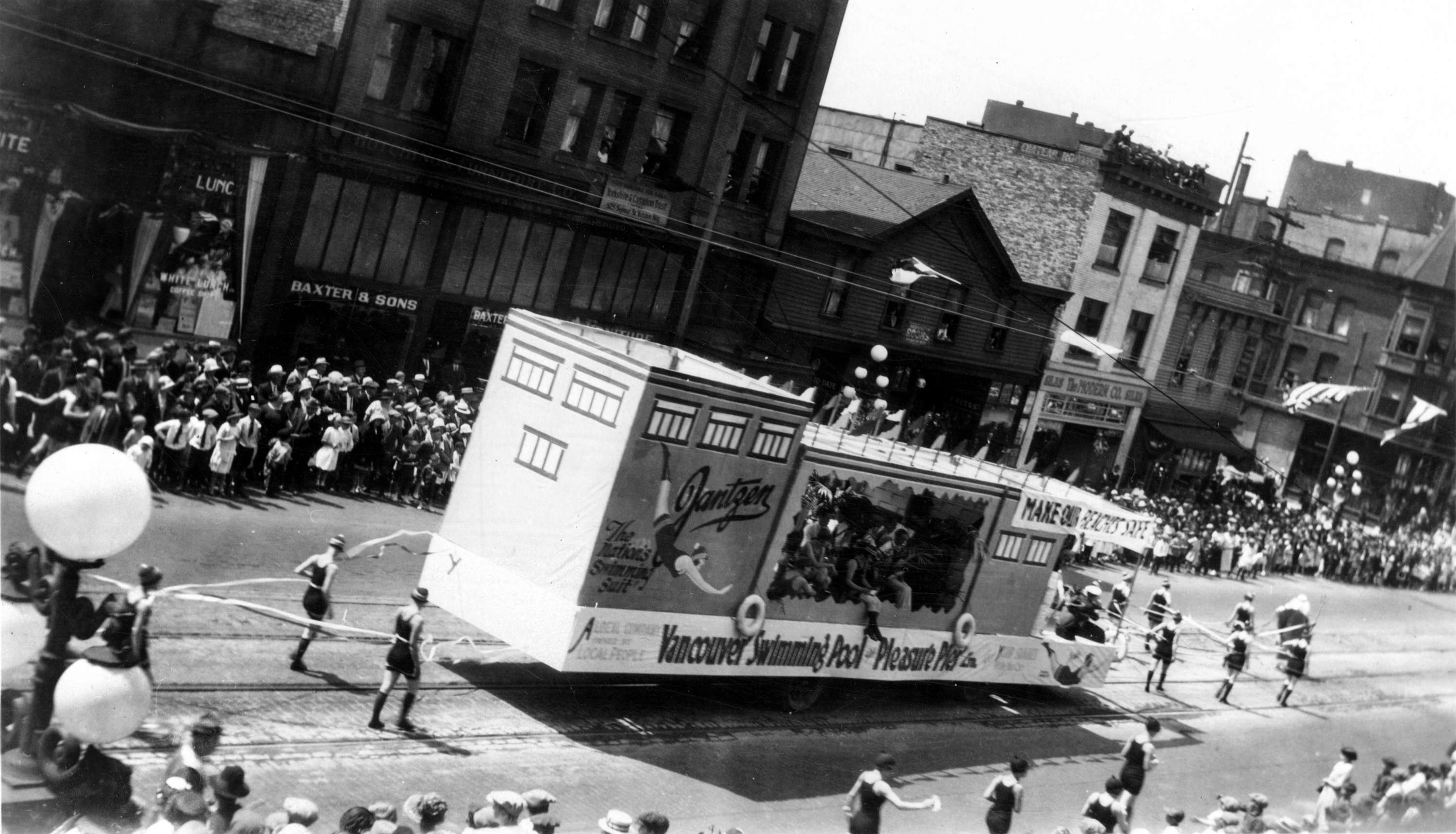 The Jantzen And Vancouver Swimming Pool Pleasure Pier Float In The Dominion Day Parade City